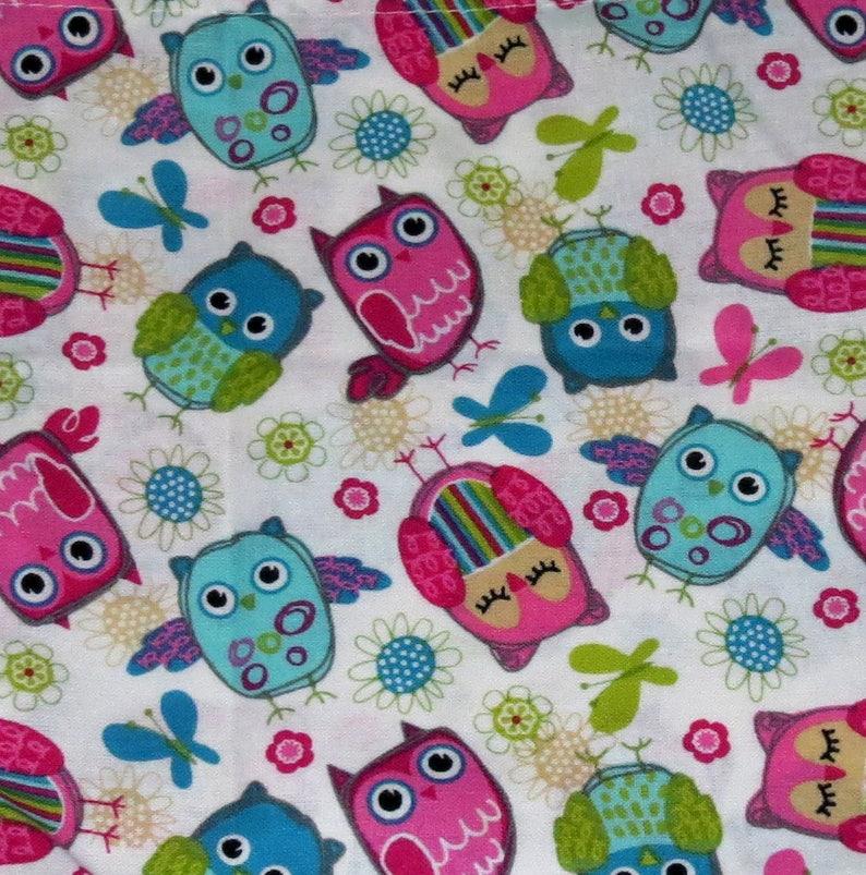 Great for crafts BAG-363C Printed Fabric and gift wrap keepsake storage 7x8 Colorful owl bird design drawstring bag