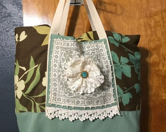 Shabby chic tote bag with lace trim and lace flower