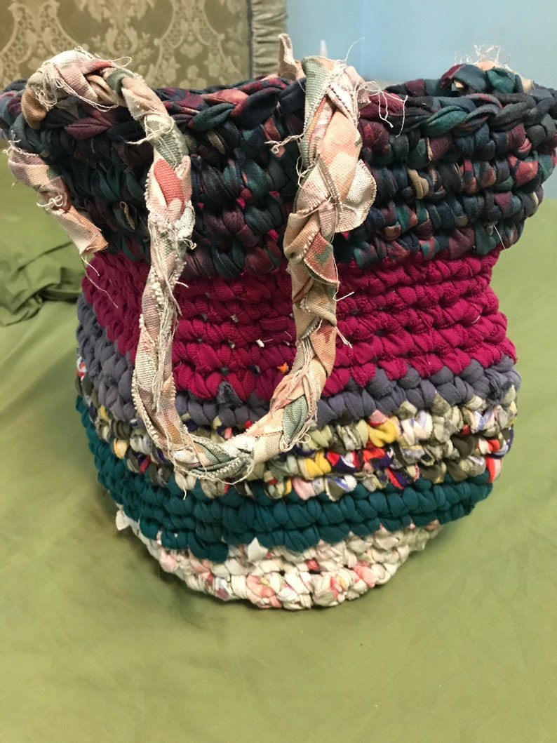 market bag shabby cottage boho crocheted tote fabric strips Multicolor shopping bag