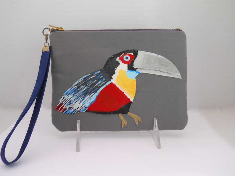 Red Breasted Toucan On Grey Clutch w Navy Accents Tropical Bird Clutch