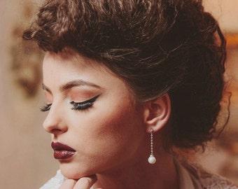 Long pearl bridal earrings, silver bridesmaid earrings, pearl drop earrings, pearl bridal jewelry