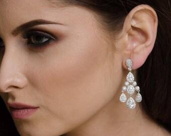 Bridal chandelier earrings, Swarovski statement earrings, crystal bridal jewelry, wedding earrings