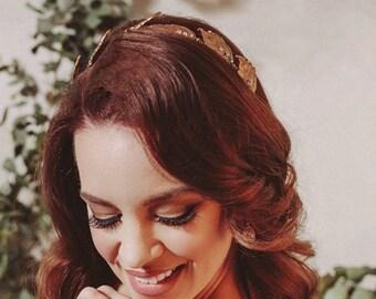 Grecian headpiece, leaf bridal headband, bronze headpiece, Grecian hair accessories