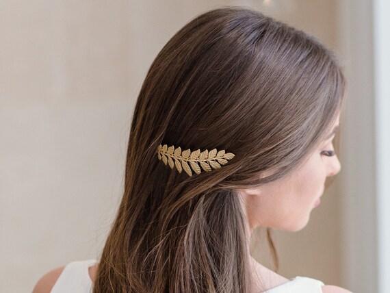 Gold leaf haircomb, Greek bridal hair piece,