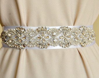 Crystal bridal belt, pearl wedding sash, bridal sash belt, wedding accessories