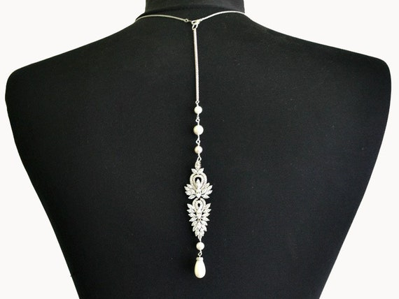 Crystal backdrop necklace, bridal back jewelry, wedding accessories, low  back dress necklace