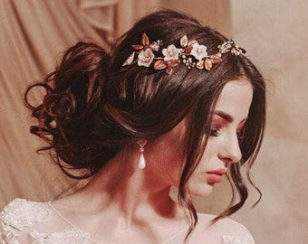 Romantic headpiece, boho bridal headpiece, pastel floral hairpiece , wedding hair accessories