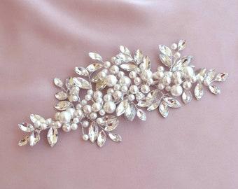 Pearl and crystal bridal headdress, wedding headpiece, bridal hair accessory, pearl bridal hairpiece, bridal updo accessory
