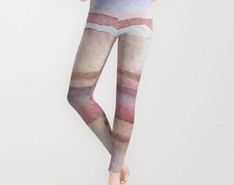 Fun striped leggings with printed watercolor design. Yoga pants, womens clothing. Earth tones, pastel pink, beige, purple