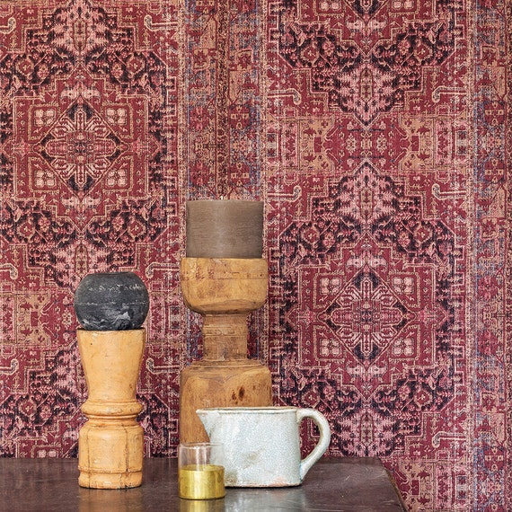 Bohemian Persian Rug Inspired Burgundy And Taupe Wallpaper Etsy