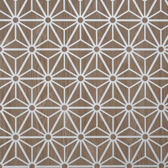 Geometric Wallpaper Optical Illusion Print Overlaid On Faux Wood