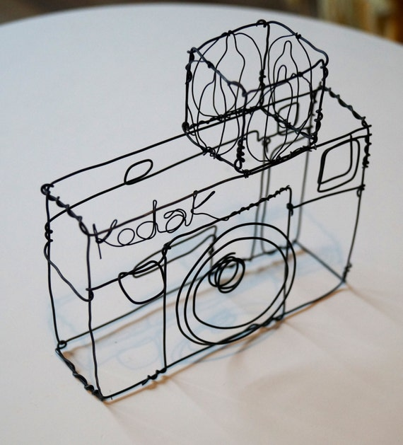 Wire sculpture of an old Kodak camera   Etsy