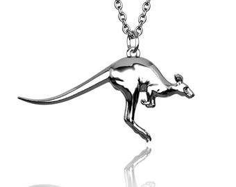 Kangaroo Pendant ONLY (no chain) in Hallmarked solid Sterling Silver. Luxury Gift with authentic detail.