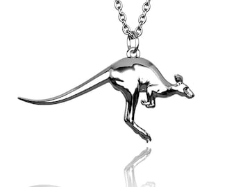 Kangaroo Pendant in Hallmarked solid Sterling Silver and chain. Luxury Gift with authentic detail.