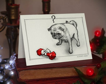 Pug - Large Christmas Card (A6) Beautifully drawn and luxury handmade on heavy textured card. FREE P&P for UK card orders.