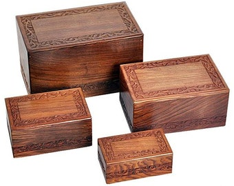 Wooden Cremation Urn with Solid Rosewood Border Carved Design