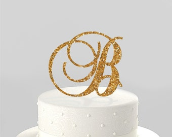 Wedding Cake Topper Couples Initial or Birthday Initial, Monogram Cake Topper, Acrylic Cake Topper [CTM]