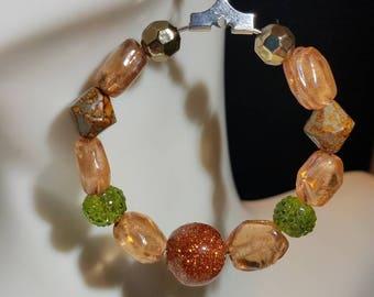 Stone and Glass Bead Hoop Earrings