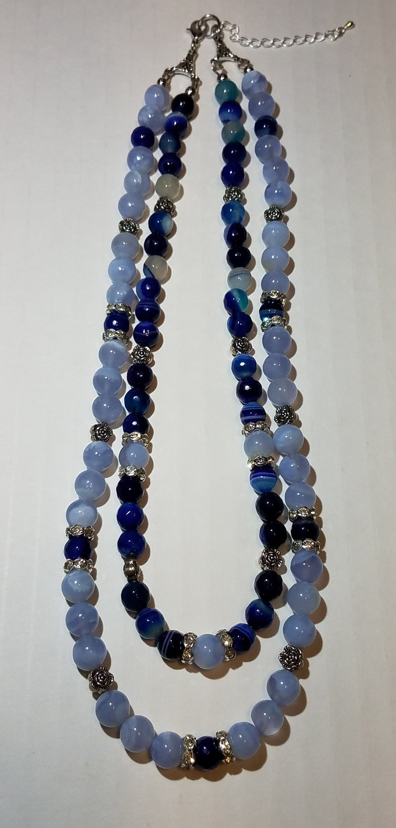 Double Strand Blue Agate Necklace