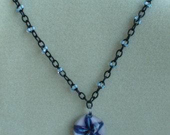 Blue Flower Pendant on Beaded Chain