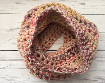 woman's chunky cowl, knit scarf