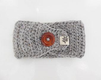 Crochet Textured Headband with Button / Grey