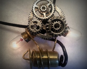 Steampunk Incandescent Memories II - Illuminated Twin Bulb & Gear Pendant - The First One of It's Kind - Handmade at Blue's Buttons