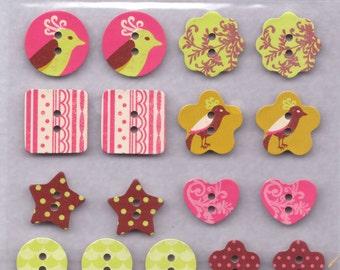 Chipboard Button Sticker Birds Flowers Hearts Star - A little Birdie Told Me