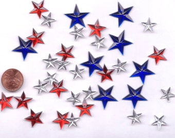Gems Shiny Stars Novelty Start Buttons Red White(silver) Blue by Favorite Findings