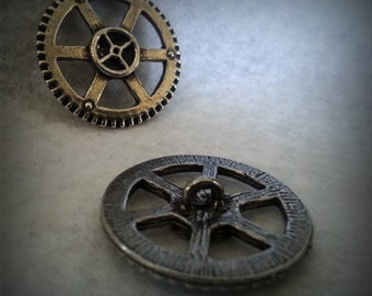 One Steampunk Gear Button Shank Back  -  Solid Cast USA Pewter