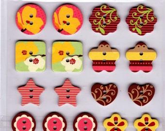 Chipboard Button Sticker Birds Flowers Hearts Star Buttons - In the Garden