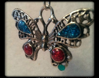 Four Gem Butterfly Pendant - Solid Pewter - Red and Blue Gems