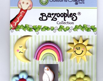 Buttons Galore Bazooples Tropical Vacation  Novelty Designer Buttons by Vicki Schreiner 6 buttons on card