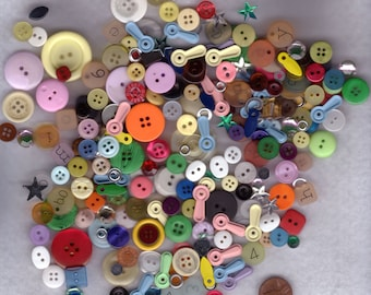 Blue's Pick #7a of Buttons Galore  :  3 oz Grab Bag of Scrapbooking Findings, Buttons, Gems, Novelty Buttons
