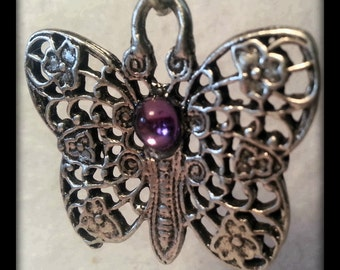 OneGem Butterfly Pendant - Solid Pewter - Pink Gem