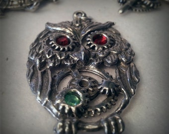 Steampunk Gear Owl Pendant - Solid Pewter