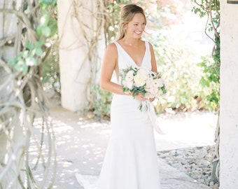 e5173a4641 Deep V-Neck Crepe Trumpet Backless Wedding Dress