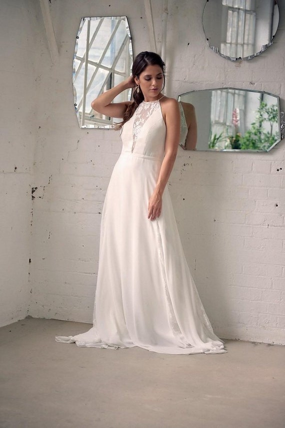 Lace And Chiffon 2019 Wedding Dress Style With Halter Top And Etsy