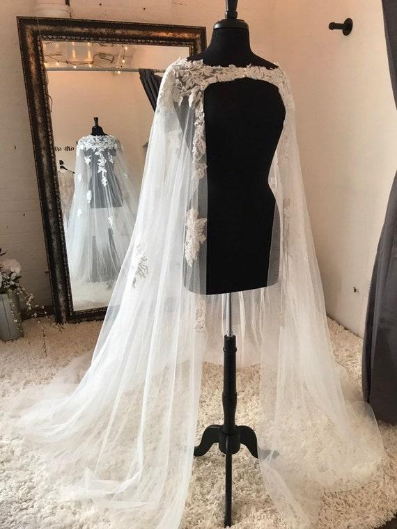Braut Hochzeit Cape Schleier Mit Spitze Mehrere Spitze Etsy