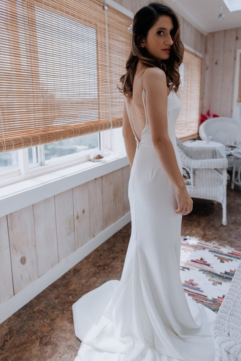 1a99c2407501 Spaghetti Strap V-Neck Crepe Sheath/Trumpet Backless Wedding | Etsy