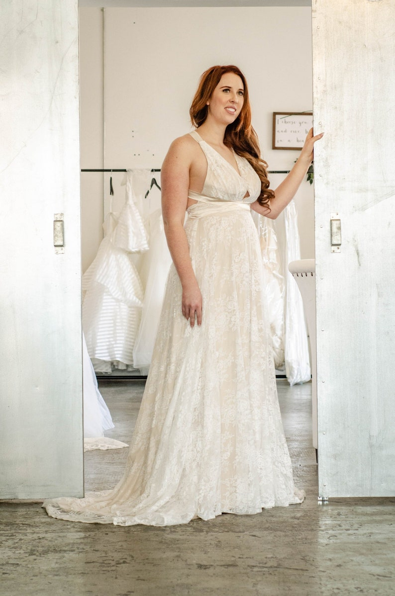 Plus Size Grecian Lace Ivory Wedding Dress | Etsy
