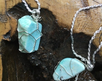 Amazonite Wire Wrapped Pendants on snake chain.