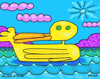 Sittin' With a Duck On The Bay, Original Digital Painting, Giclee,Archival,Limited, Signed and Numbered