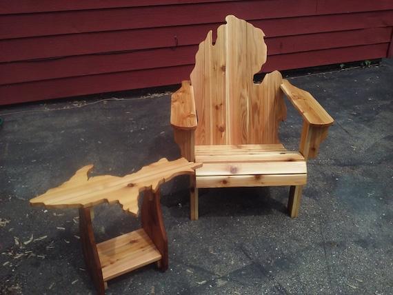 Michigan Adirondack Chair And Upper Peninsula Table Michigan Etsy - Picnic table michigan
