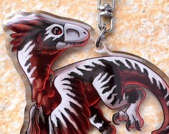 Feathered Deinonychus Raptor Double-Sided Acrylic Keychain