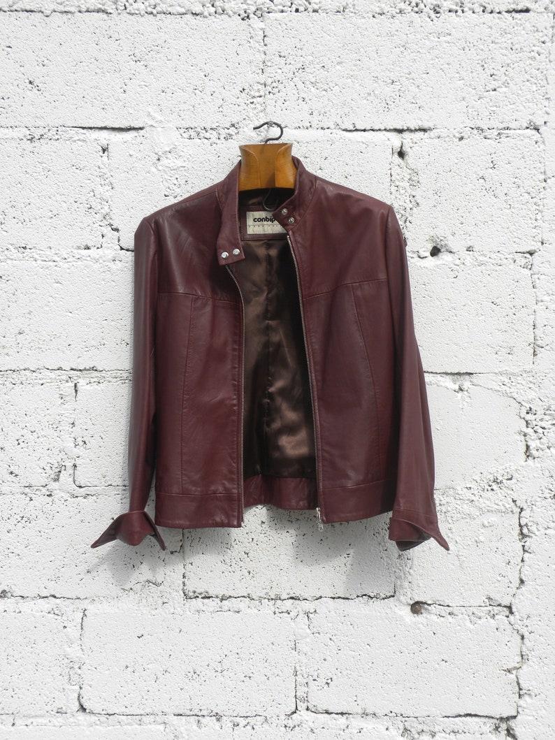 Italian Vintage Ladies Leather Jacket Dark Red Brown Small Etsy