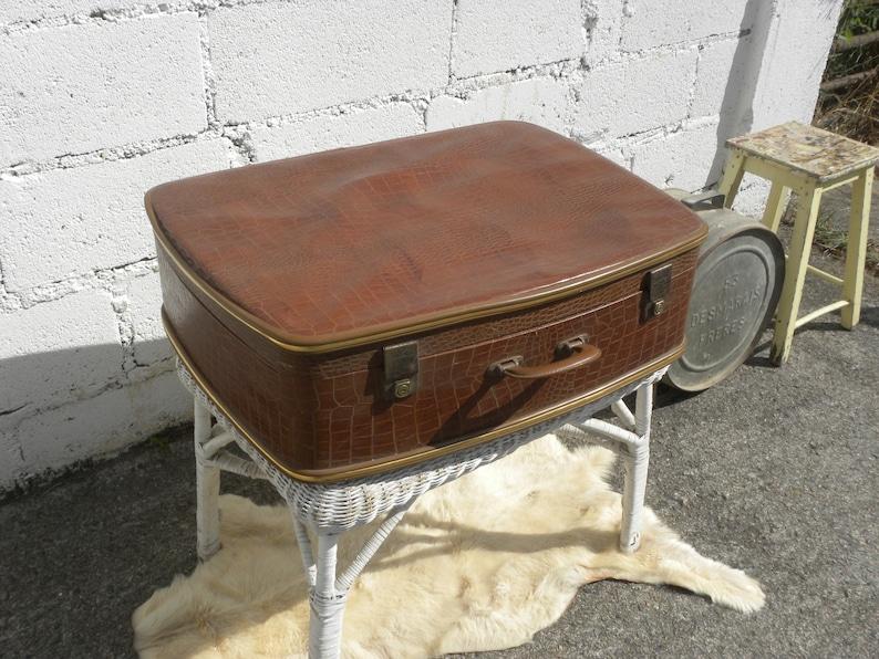 Big French Vintage Travel Suitcase Leatherette Croco Design 50s