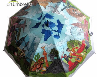 Umbrella with unique Painting • Travel the World • Journey around the World • Rain Umbrella • Esprit brand • Personalized • Hand Painted