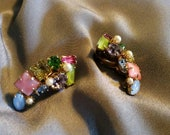 Multi-colored Moonstone, Pearl and Rhinestone Earrings set in Gold Tone Metal