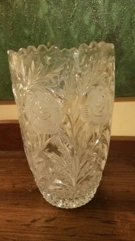 Large Pressed Glass Vase Etsy